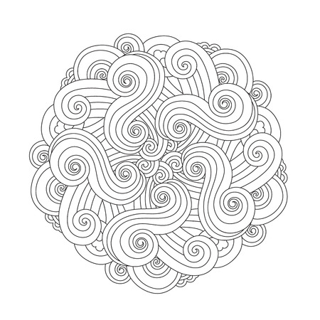 Mandala gráfico con ondas y curles. Elemento del mar estilo inspirado Página de libro para colorear para adultos y niños mayores. Ilustración de vector de arte