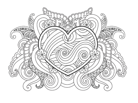 Coloring page with heart and abstract element isolated. Happy Valentines Day Graphic for print, card. Horizontal composition. Coloring book for adult and older children. Editable vector illustration.