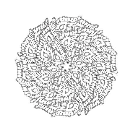 Graphic Mandala with many decorative petals. inspired style. Coloring book page for adults and older children. Art vector illustration