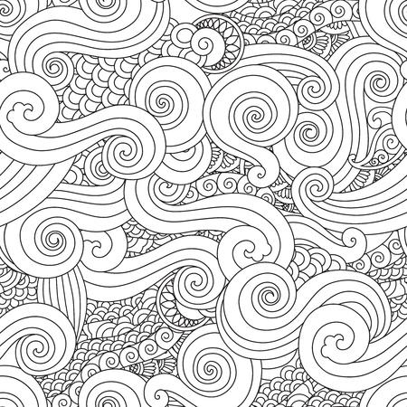 추상 손으로 그려진 된 개요 파도 곱슬 원활한 패턴 동쪽 아시아 스타일 흰색 배경에 고립. 성인 및 노년층 어린이를위한 책. 아트 벡터 일러스트 레이  일러스트