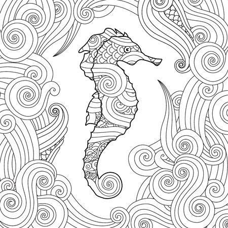 Hand drawn sketch of seahorse surrounded by waves in inspired style. Coloring book for adult and older children. Square composition. Art vector stylized illustration. Vectores