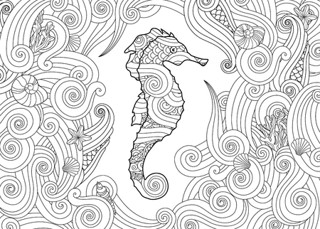 Hand drawn sketch of seahorse surrounded by waves in zentangle inspired style. Coloring book for adult and older children. Horizontal composition. Art vector stylized illustration. Vectores