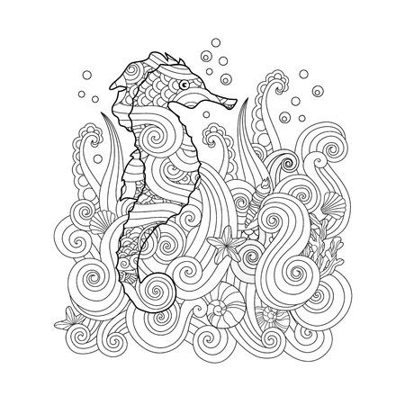 Bosquejo dibujado a mano del seahorse bajo el mar en zentangle inspiró estilo. Libro para colorear para adultos y niños mayores. Composición cuadrada. Ilustración estilizada del vector del arte.