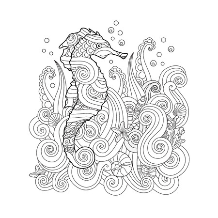 Hand drawn sketch of seahorse under the sea in zentangle inspired style. Coloring book for adult and older children. Square composition. Art vector stylized illustration.