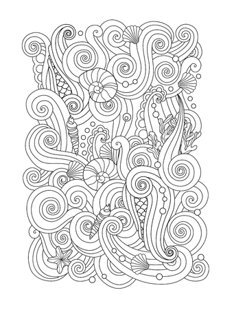 Coloring page with abstract sea background waves, shells, corals. Vertical composition. Coloring book for adult and older children. Editable vector illustration.
