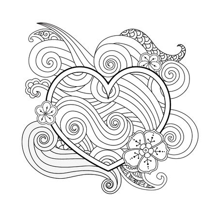 Coloring page with heart and abstract element isolated. Happy Valentines Day Graphic for print, card. Square composition. Coloring book for adult and older children. Editable vector illustration.