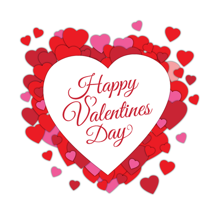 Happy Valentine s day abstract romantic background with cut paper hearts and text in heart frame isolated on white background. Lettering or typographical card template. Art vector illustration
