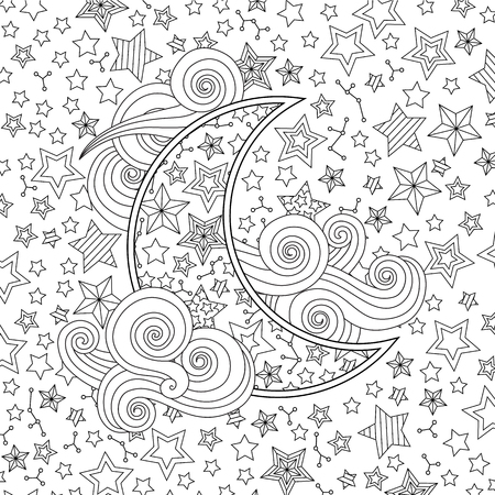Contour image of moon crescent clouds, stars in inspired doodle style. Square composition. Coloring book page for adult and older children. Editable vector illustration.