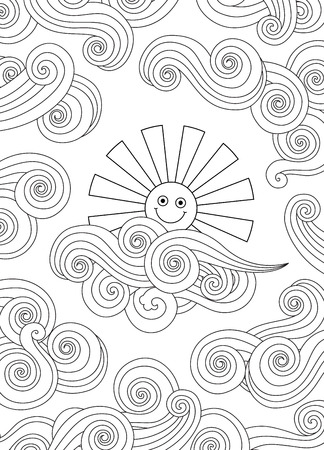 Contour image of smiling sun and clouds doodle style. Vertical composition. Coloring book, antistress page for adult and older children. Editable vector illustration.