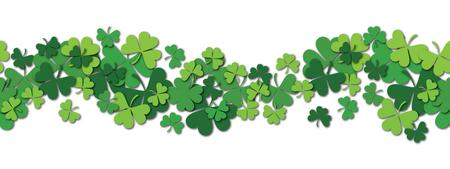 Happy Saint Patrick s day vector horizontal seamless pattern background with shamrock. Vector illustration. Illustration