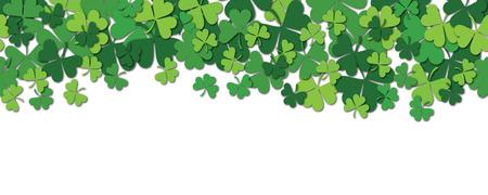 Happy Saint Patrick s day horizontal seamless pattern background with shamrock isolated on white. Vector illustration.