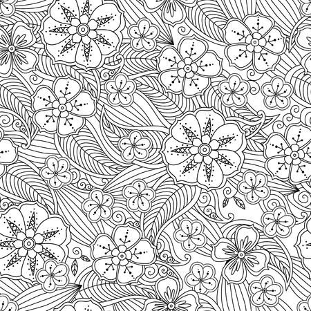 Abstract hand drawn outline seamless pattern with flowers and leafs isolated on white background. coloring antistress book for adult and older children. Art vector illustration.