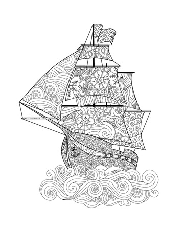 Ornate image of ship on the wave in inspired doodle style isolated on white. Vertical composition. Coloring book, antistress page for adult and older children. Vector illustration.  イラスト・ベクター素材
