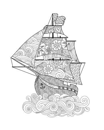 Overladen beeld van schip op de golf in geïnspireerde krabbelstijl die op wit wordt geïsoleerd. Verticale samenstelling. Kleurboek, antistresspagina voor volwassen en oudere kinderen. Vector illustratie.
