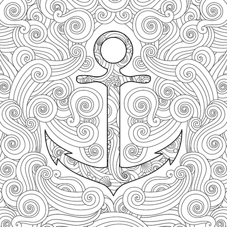 Coloring page with anchor in waves.