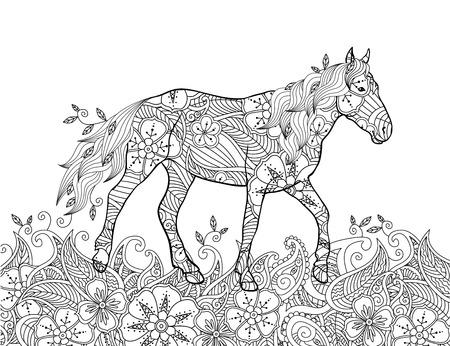 Dibujo para colorear estilo inspirado del doodle. Caballo corriendo en la pradera en flor. Composición horizontal. Libro para colorear para adultos y niños mayores. Ilustración vectorial editable.