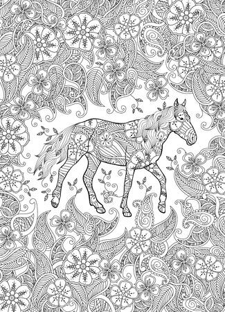 Dibujo para colorear en estilo inspirado. Caballo corriendo en la pradera floreciente. Composición vertical. Libro para colorear para adultos y niños mayores. Ilustración vectorial editable. Ilustración de vector