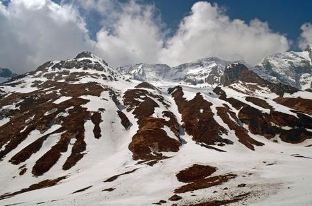 Mountain Landscape in Himalaya. Snowy wall, Nepal, Annapurna Base Camp Track. Stock Photo