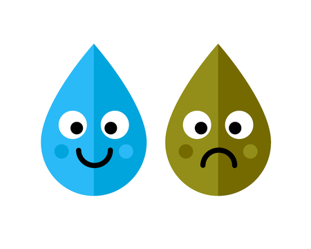 Clean and dirty water drops characters icon isolated on white background. Ecology concept. Art vector illustration. Vectores