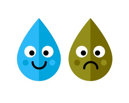 L'eau propre et sale gouttes icône de caractères isolé sur fond blanc. Concept d'écologie. Illustration vectorielle d'art.