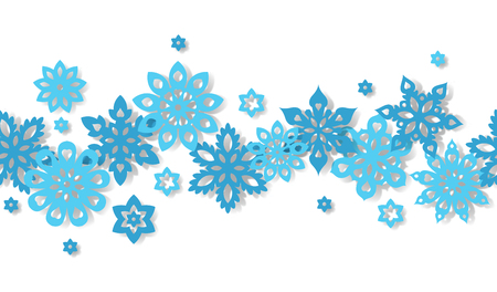 Seamless border snowflakes isolated on white background. Art vector illustration. Illustration