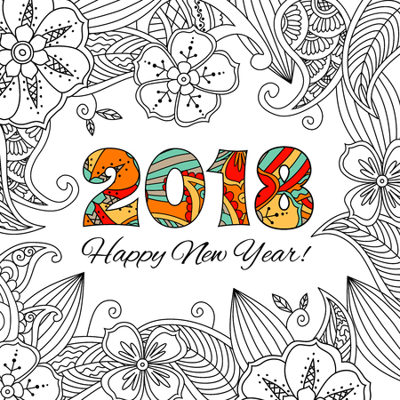 New Year Card With Numbers 2018 On Floral Background. Zentangle ...
