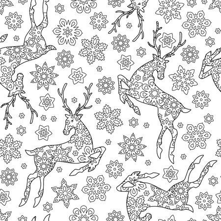 Hand drawn outline festive seamless pattern with snowflakes and deers isolated on white background. coloring antistress book for adult. Art vector illustration. Illustration