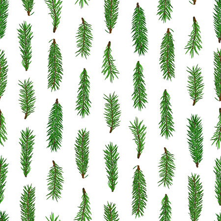 Realistic green fir tree branches seamless pattern on white background. Christmas, new year symbol. Art vector illustration