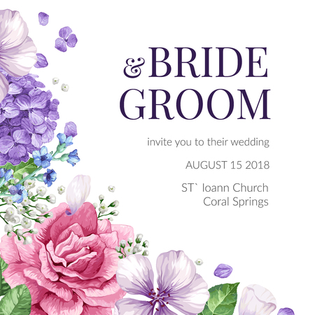 Wedding Invitation card with flowers in watercolor style on white background. Template for greeting card. Editable elements. Art vector illustration. Illustration