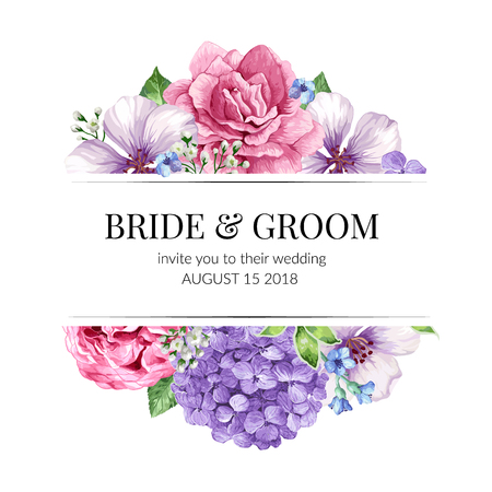 Wedding Invitation card design with flowers in watercolor style on white background. Template for greeting card.  イラスト・ベクター素材