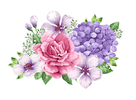 Bouquet of flower, gypsophila in watercolor style isolated on white background. For greeting cards, prints.