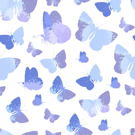 Seamless pattern with blue silhouettes watercolor butterflies isolated on white background.