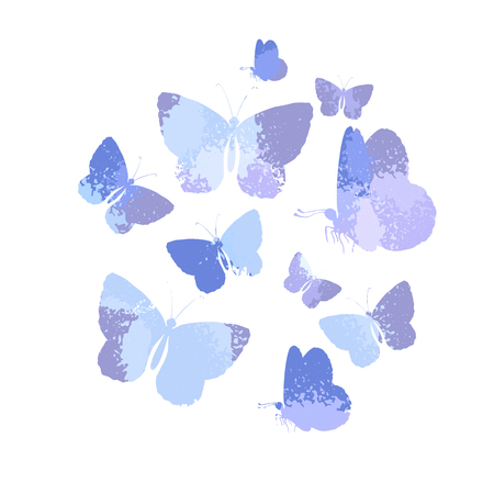 Design, set of blue silhouettes watercolor butterflies isolated on white background.
