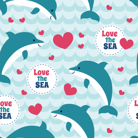 Seamless pattern with flock of dolphins. For cards, invitations, wedding or baby shower albums, wallpapers, backgrounds and scrapbooks. Art vector Illustration.  イラスト・ベクター素材