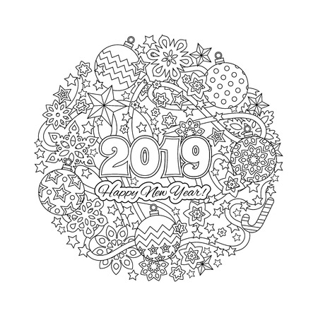 New year congratulation card with numbers 2018 on winter holiday background. Christmas mandala. Antistress coloring book for adults. Zen monochrome graphic. Editable vector illustration Ilustracja