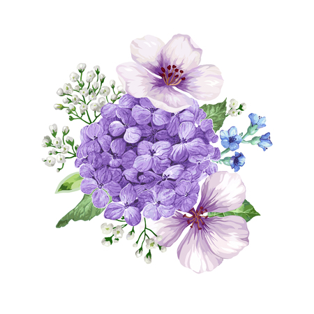 Bouquet of apple tree flower, gypsophila in watercolor style isolated on white background. For greeting cards, prints. All elements are editable.