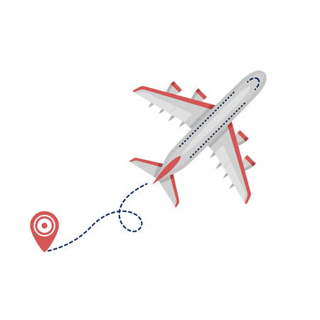 Airplane plane airliner icon with start point and dash line isolated on white background. Flat style. Art vector illustration.