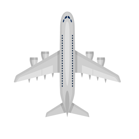 Airplane plane airliner icon isolated on white background. Flat style. Art vector illustration. Illustration