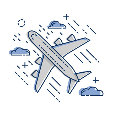 Airplane plane airliner icon isolated on white background. Flat and line art style. Art vector illustration.