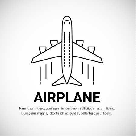 白い背景に隔離飛行機飛行機旅客機。線画のスタイル。