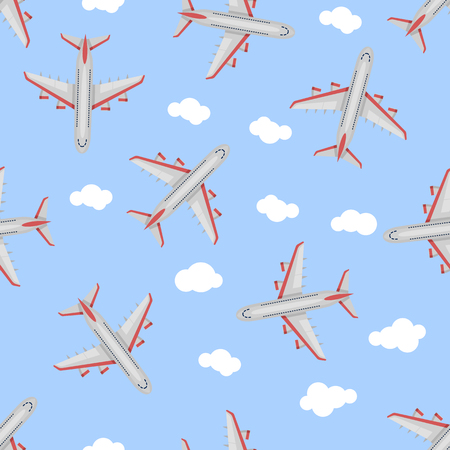Seamless pattern Airplane in the sky. Flat style. Art vector illustration.