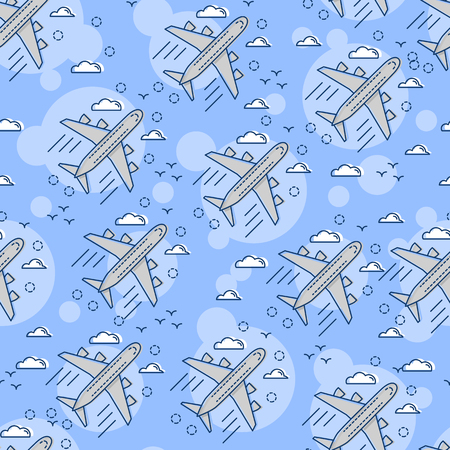 Seamless pattern Airplane in the sky. Flat and line art style. Art vector illustration.