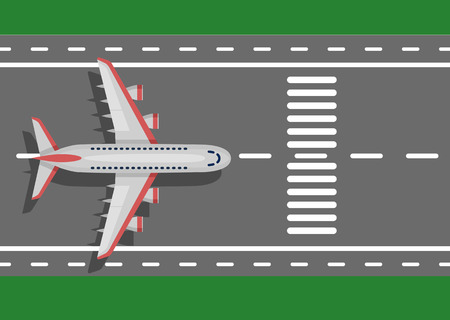 Airplane plane airliner on runway. Top view. Flat style. Art vector illustration.
