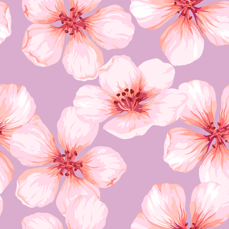 Seamless pattern with blossoming apple tree flowers on pink background. Elegance vintage endless texture in watercolor style . Seamless pattern for textile, wrapping paper, package, Art vector illustration.