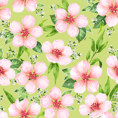 Seamless pattern with blossoming flowers on green background. Elegance vintage endless texture in watercolor style . Illustration