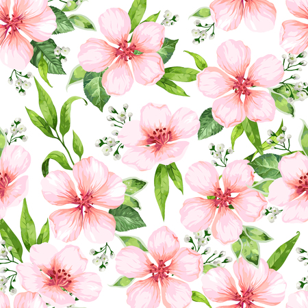 Seamless pattern with blossoming apple tree flowers on white background. Elegance vintage endless texture in watercolor style . Seamless pattern for textile, wrapping paper, package, Art vector illustration.