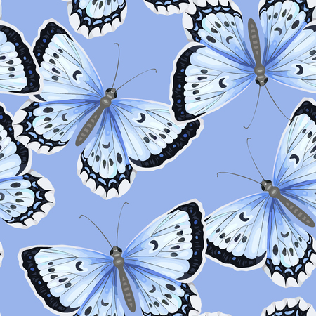 Seamless pattern with blue butterflies in watercolor style on blue background. Endless texture for textile, wrapping paper, package. Illustration
