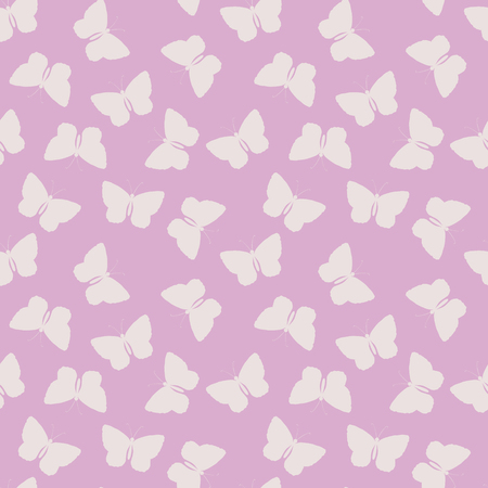 Seamless pattern with butterfly silhouettes on pink background. Endless texture for textile, wrapping paper, package. 矢量图像