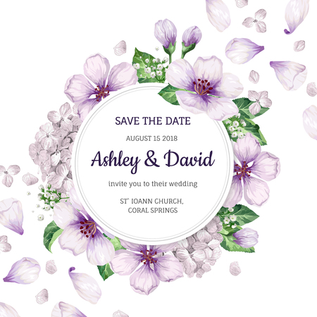 Floral background flowers, hydrangea in watercolor style isolated on white. Template for wedding card. Square composition. Place for text.