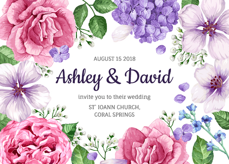 Wedding Invitation card with flowers in watercolor style on white background. Template for greeting card.